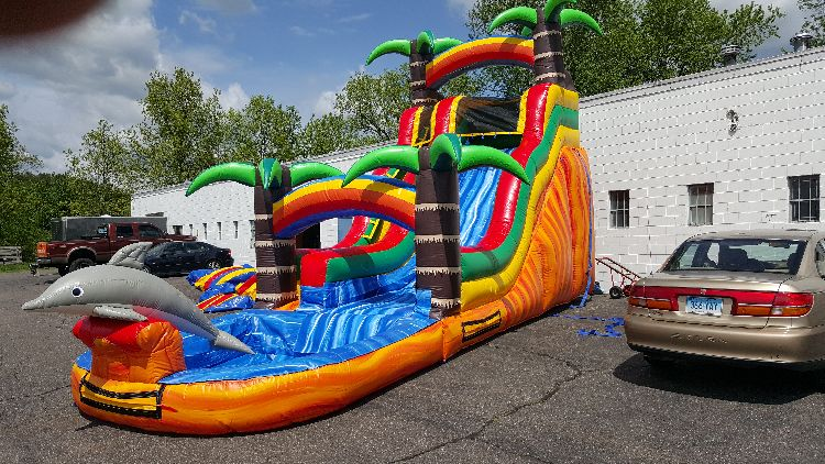 16FT Tropical Dolphin Water Slide  (29x11x16)